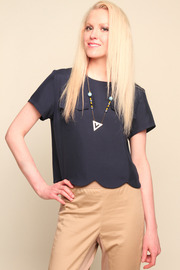 Porter Grey Silk Dupioni Cropped Tee - Front cropped