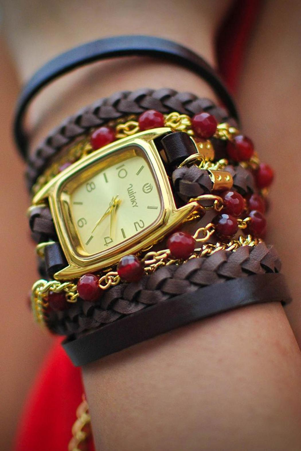 Winky Designs Red Carnelian Wrap Watch - Front Full Image