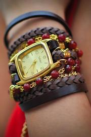 Winky Designs Red Carnelian Wrap Watch - Front full body