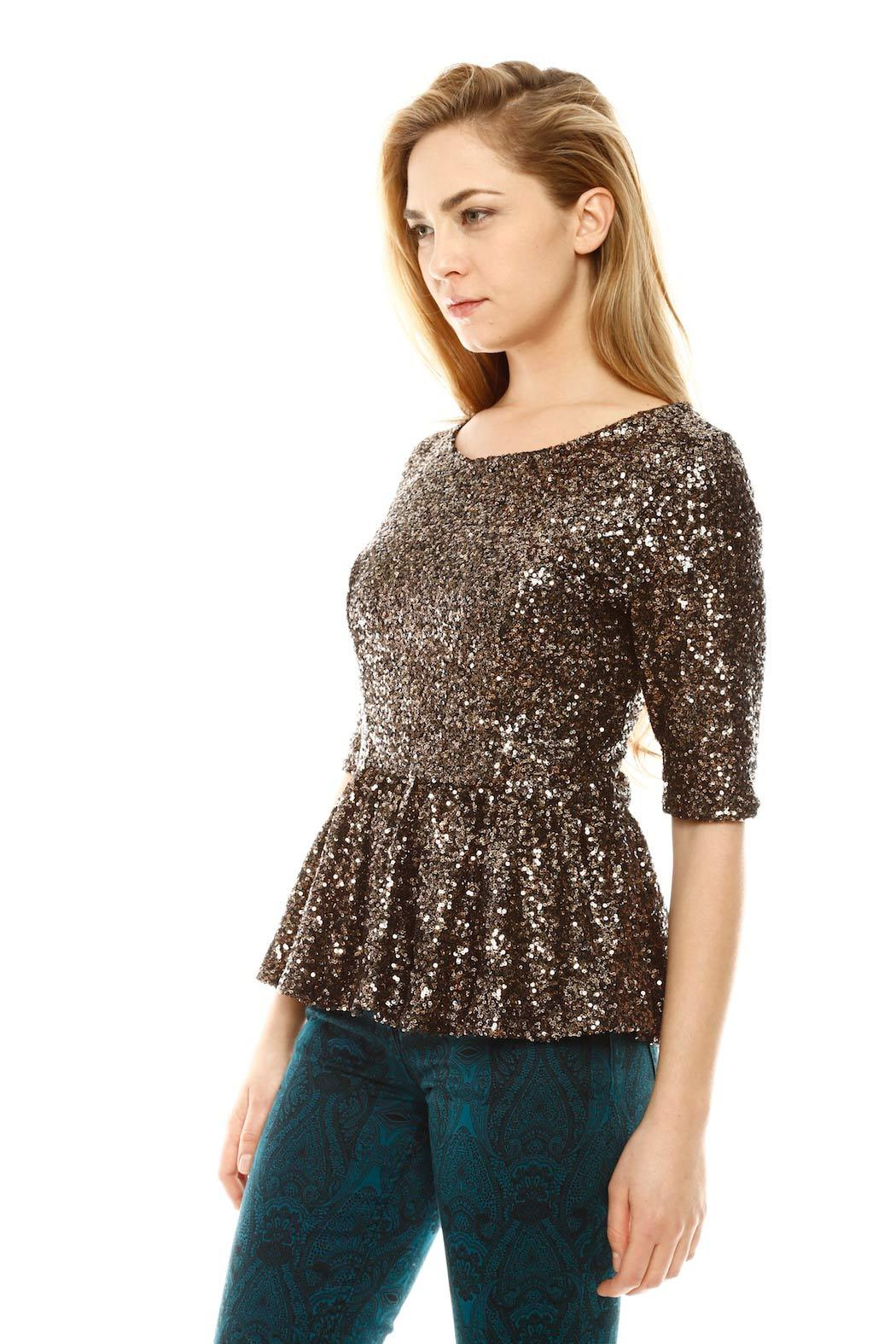 Hommage Sequin Peplum Top from Miami by Prinzzesa — Shoptiques