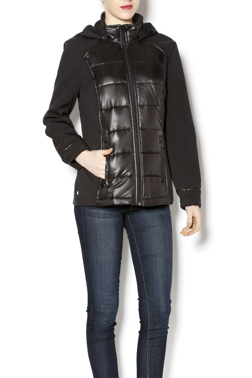 Tribal Black Snow Repellant Jacket - Front Cropped Image
