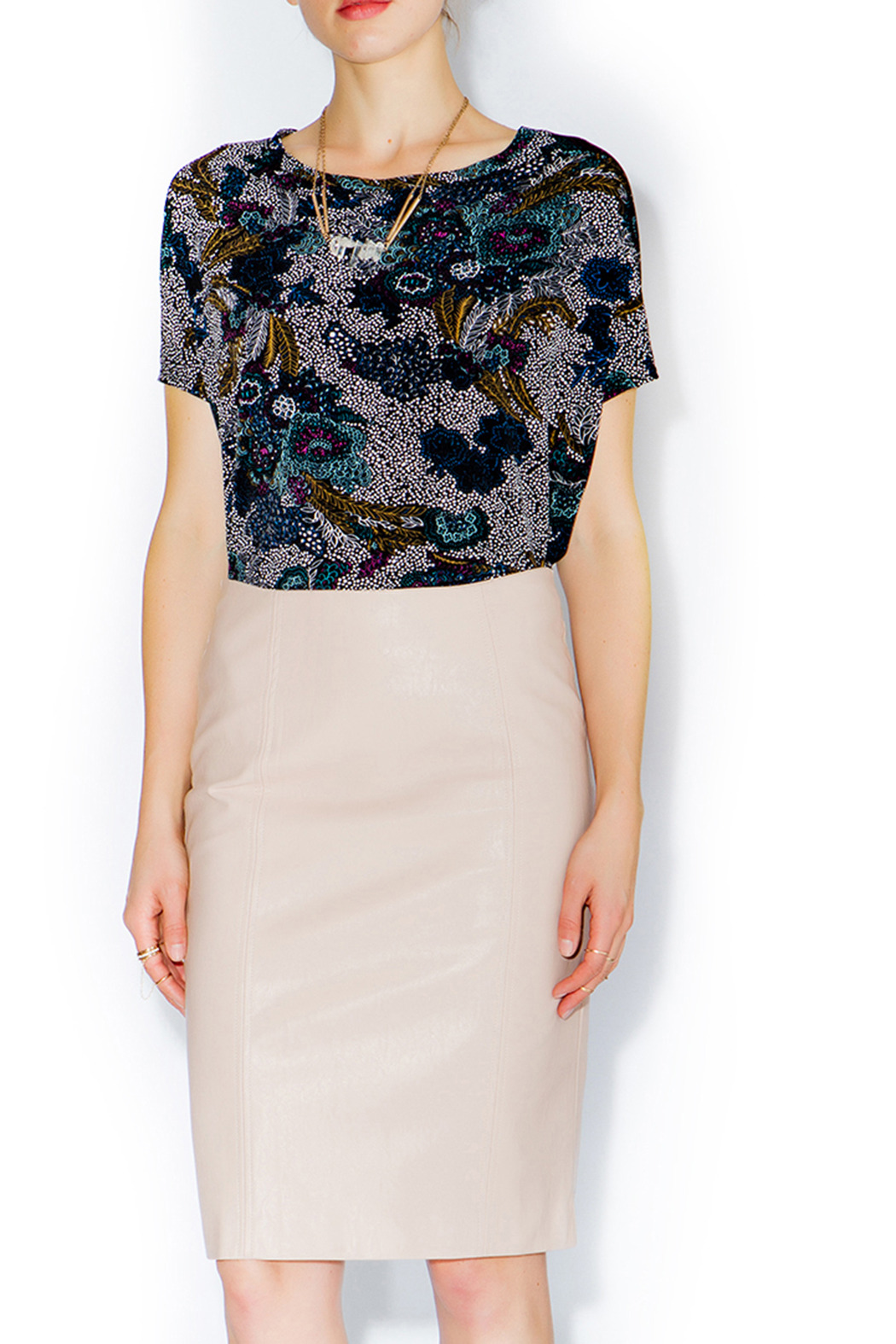 C. Luce Blush Leather Pencil Skirt - Front Full Image