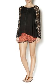Double Zero Black Lace Sleeve Blouse - Front full body