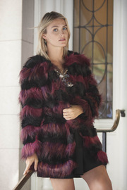 Derhy Striped Fur Coat - Front full body