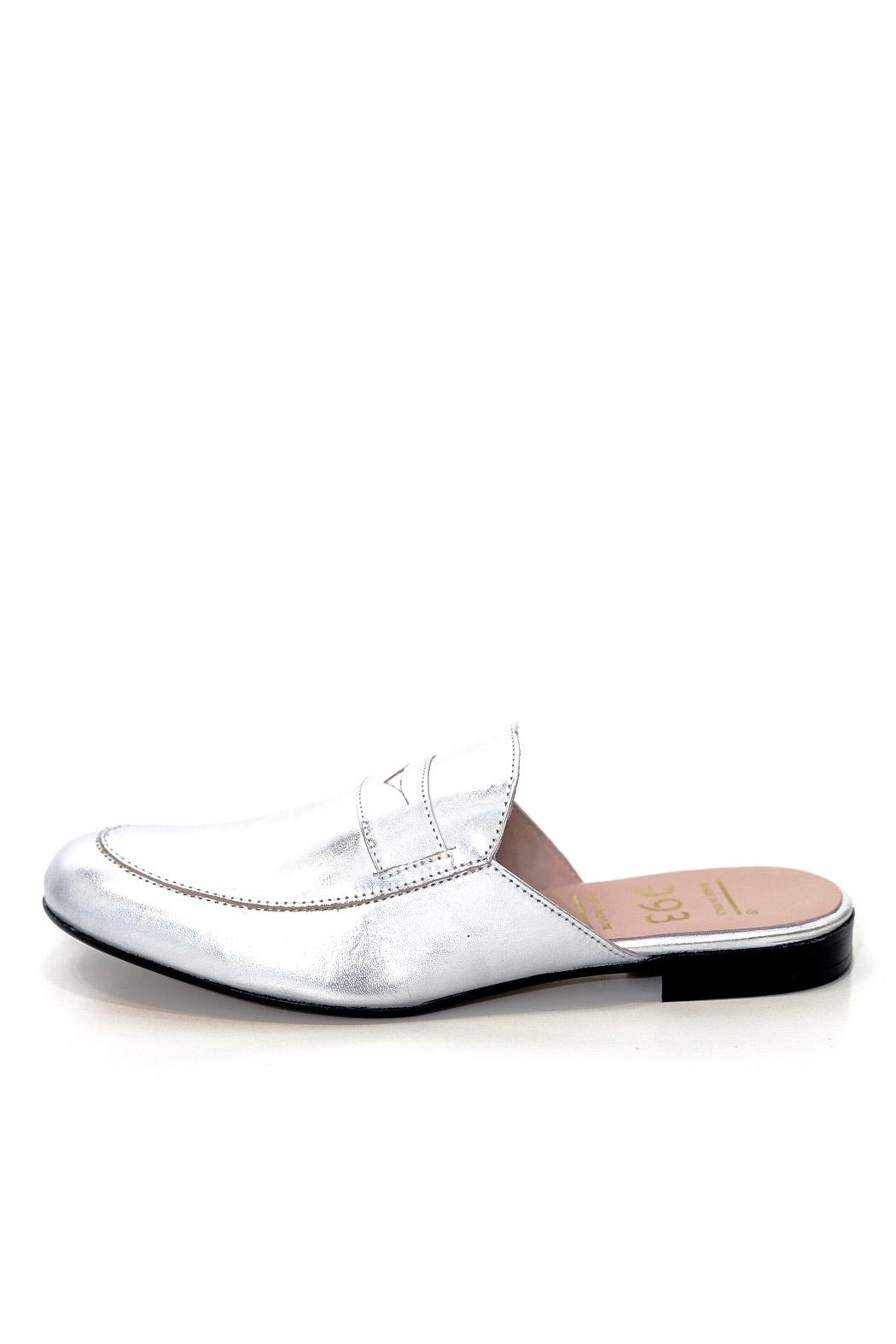 993 Silver Leather Mule Slip On - Main Image