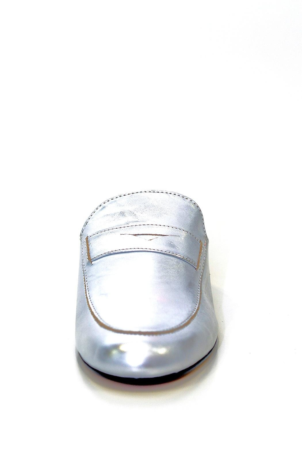 993 Silver Leather Mule Slip On - Side Cropped Image