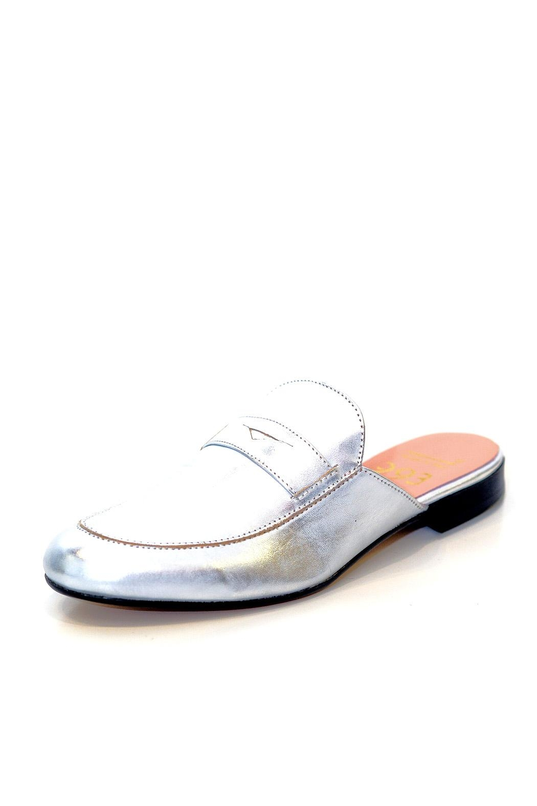 993 Silver Leather Mule Slip On - Front Full Image