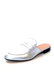 993 Silver Leather Mule Slip On - Front full body