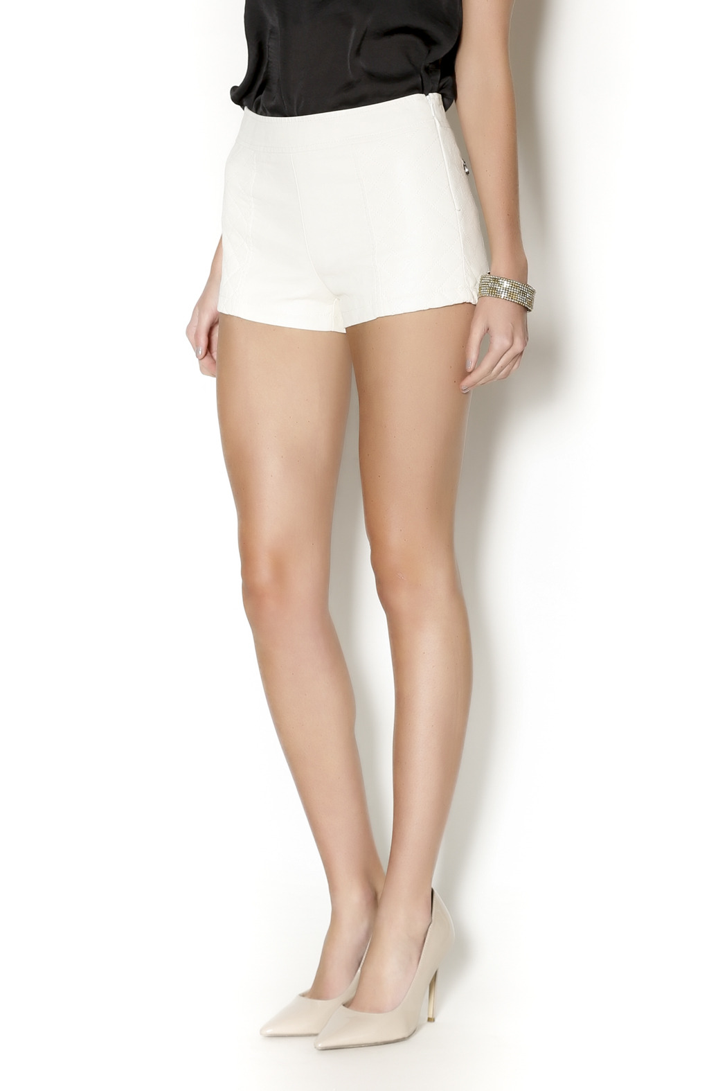 t.l.b.d. White Faux Leather Shorts from Montclair by That Little ...