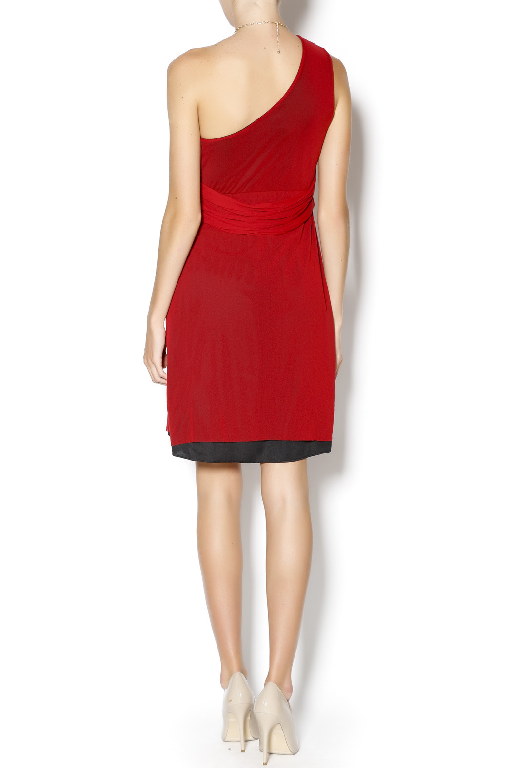 Sweet Pea Pleated One Shoulder Dress - Side Cropped Image
