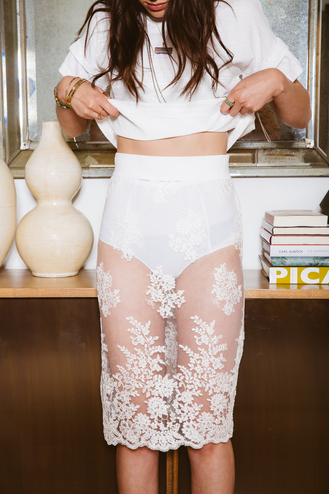 Pinkyotto Racey Lace Skirt - Side Cropped Image