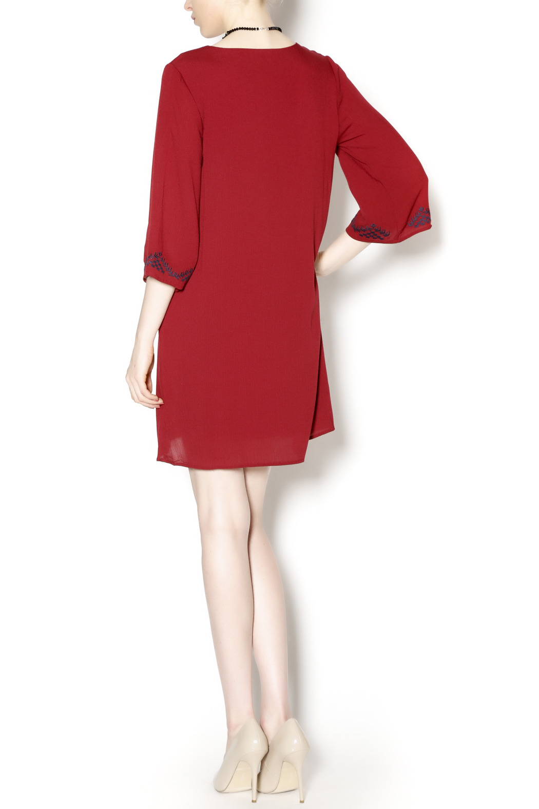 Final Touch Embroidered Red Gauze Dress - Side Cropped Image