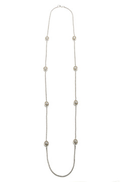 Shoptiques Product: Long Silver Disc Necklace