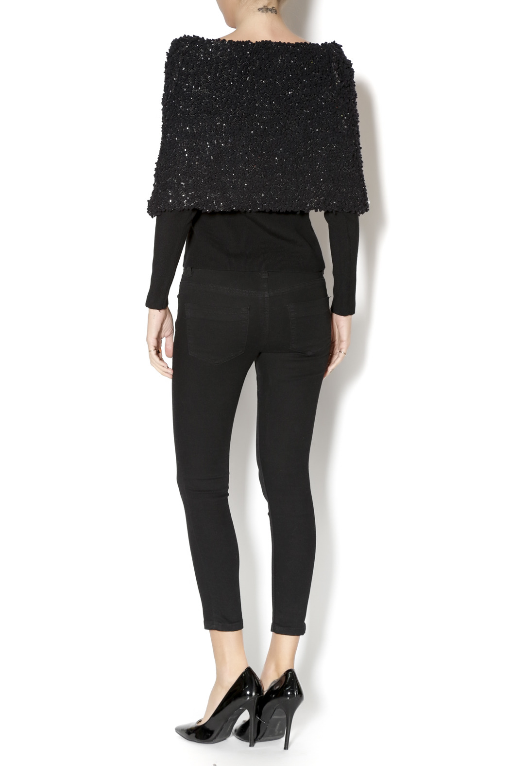 Talk of the Walk Textured Shimmer Sweater - Side Cropped Image