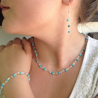 Shoptiques Product: Turquoise and Swaroski Necklace
