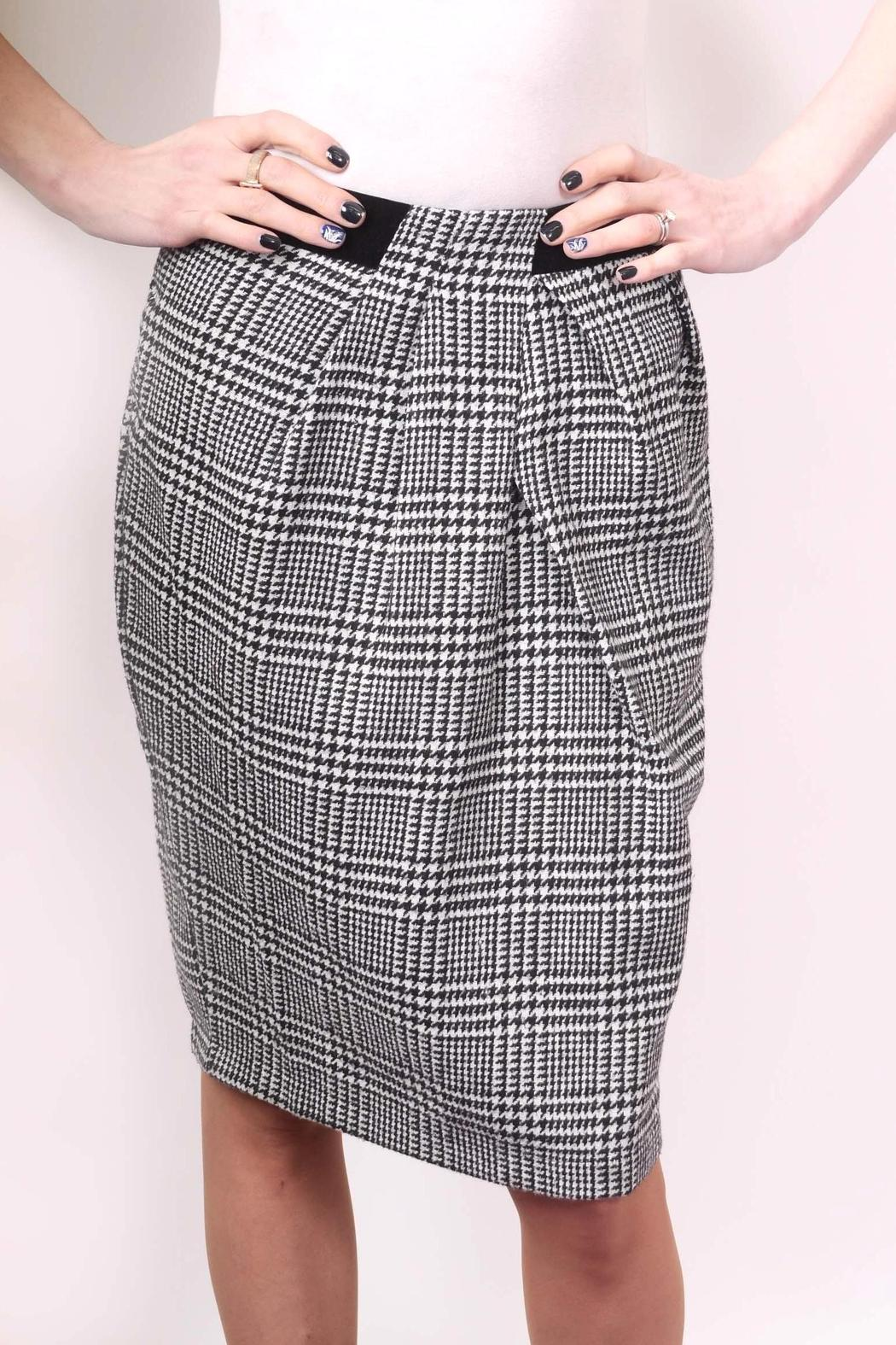 Miss Finch B/w Hounds-Tooth Skirt - Front Cropped Image