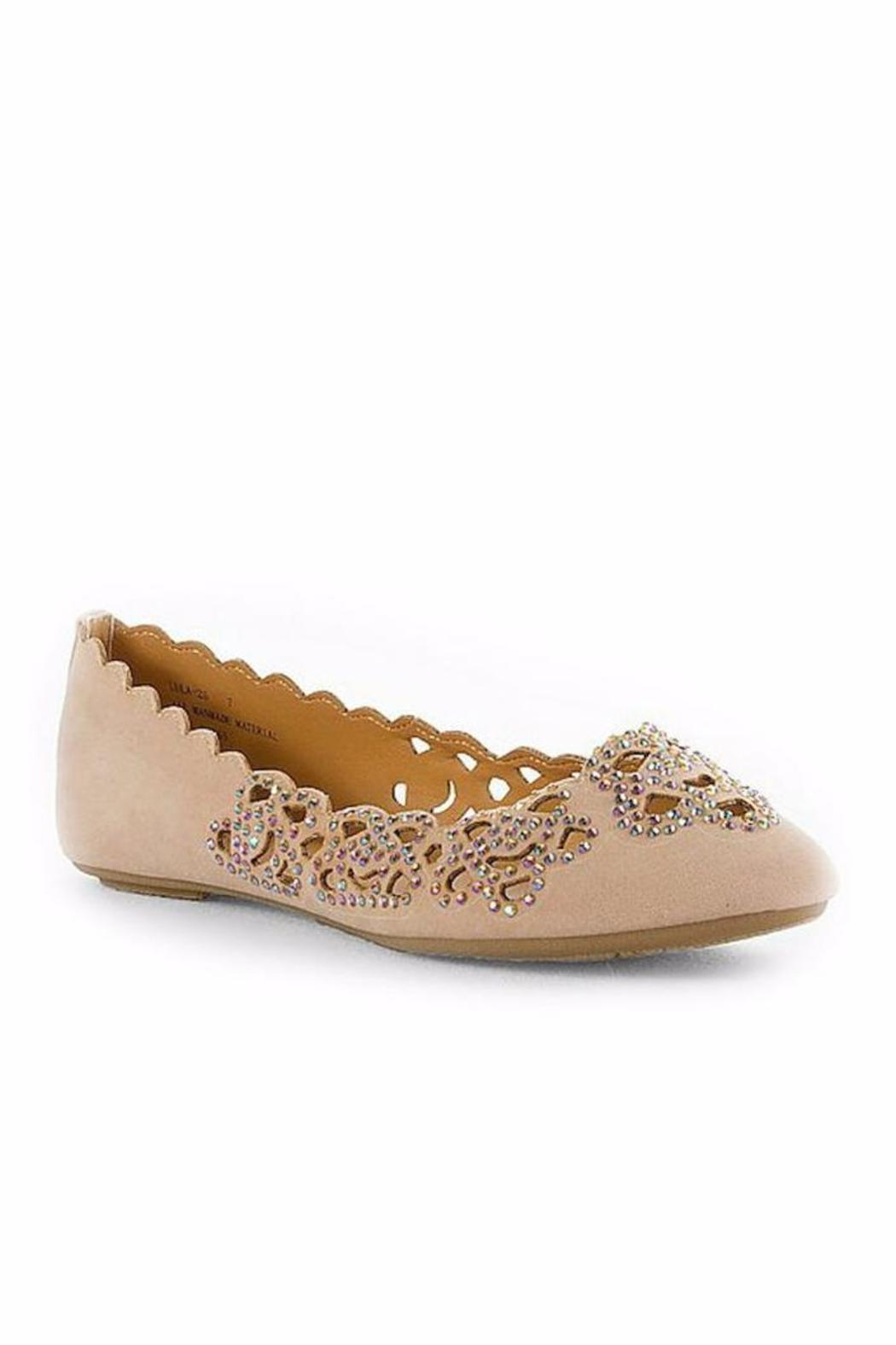 Bamboo Rhinestone Floral Flat - Front Cropped Image