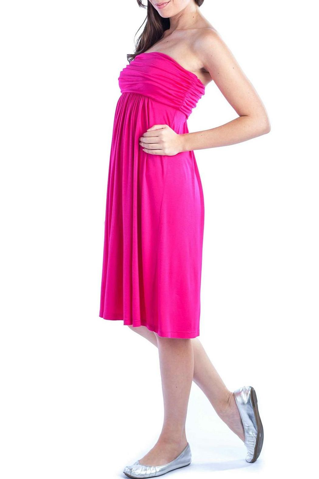 24/7 Comfort Apparel Empire-Tube Strapless Dress - Side Cropped Image