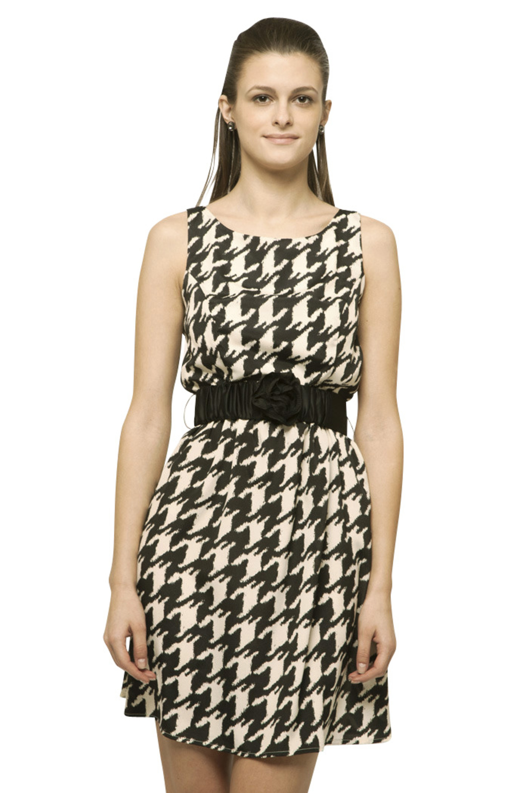 Young At Heart Houndstooth Flower Dress From Belmont By Thirty Petals Shoptiques