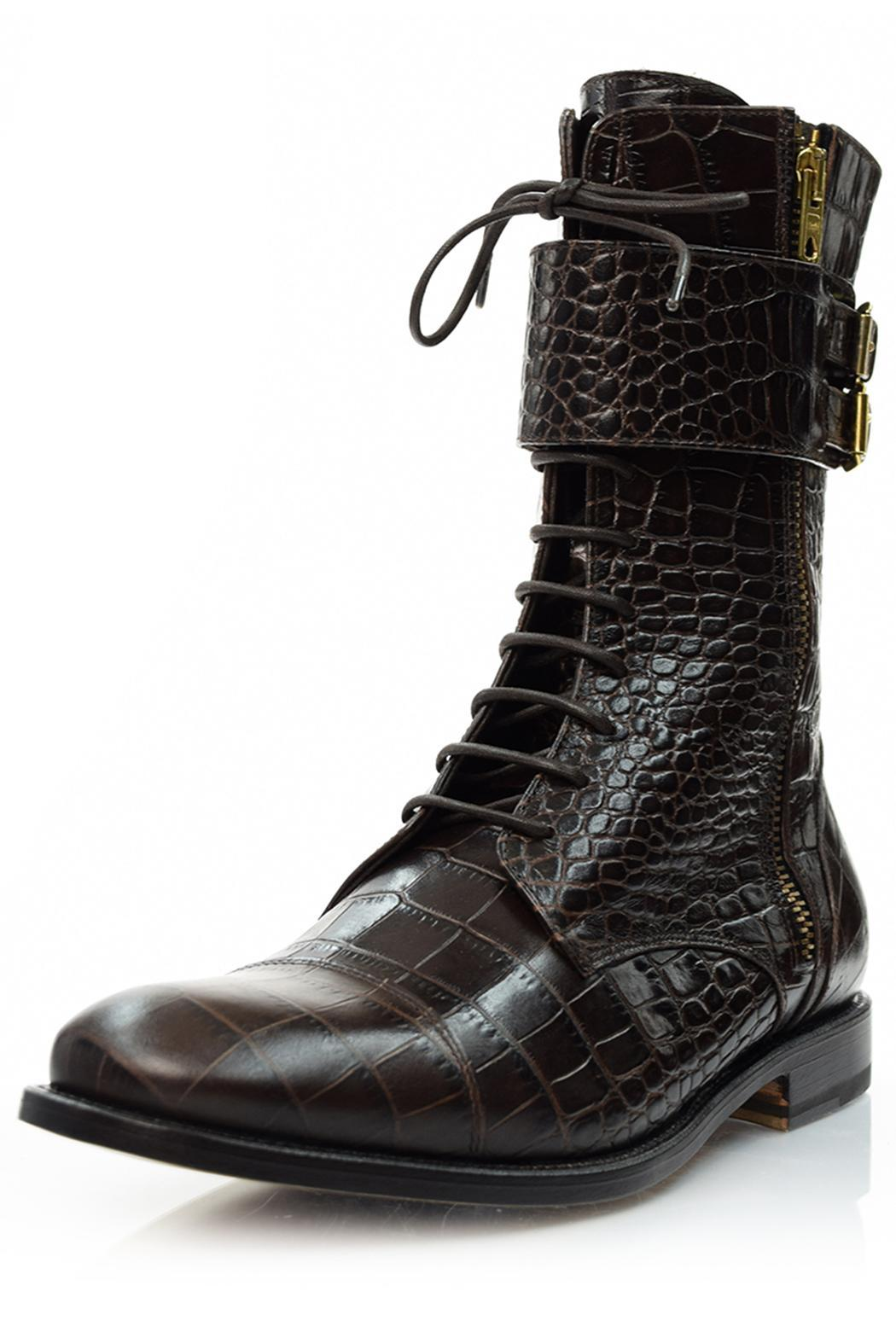 A. Bottega  Brown Lace-Up Booties - Main Image