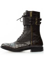 A. Bottega  Brown Lace-Up Booties - Front full body