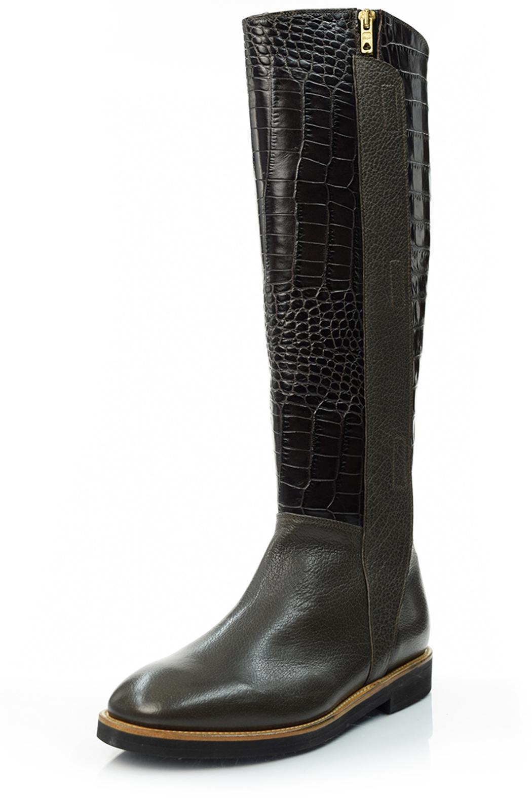 A. Bottega  Crocodile Embossed Boots - Front Cropped Image