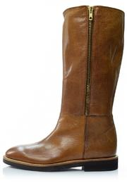A. Bottega  Flat Cognac Boot - Front cropped