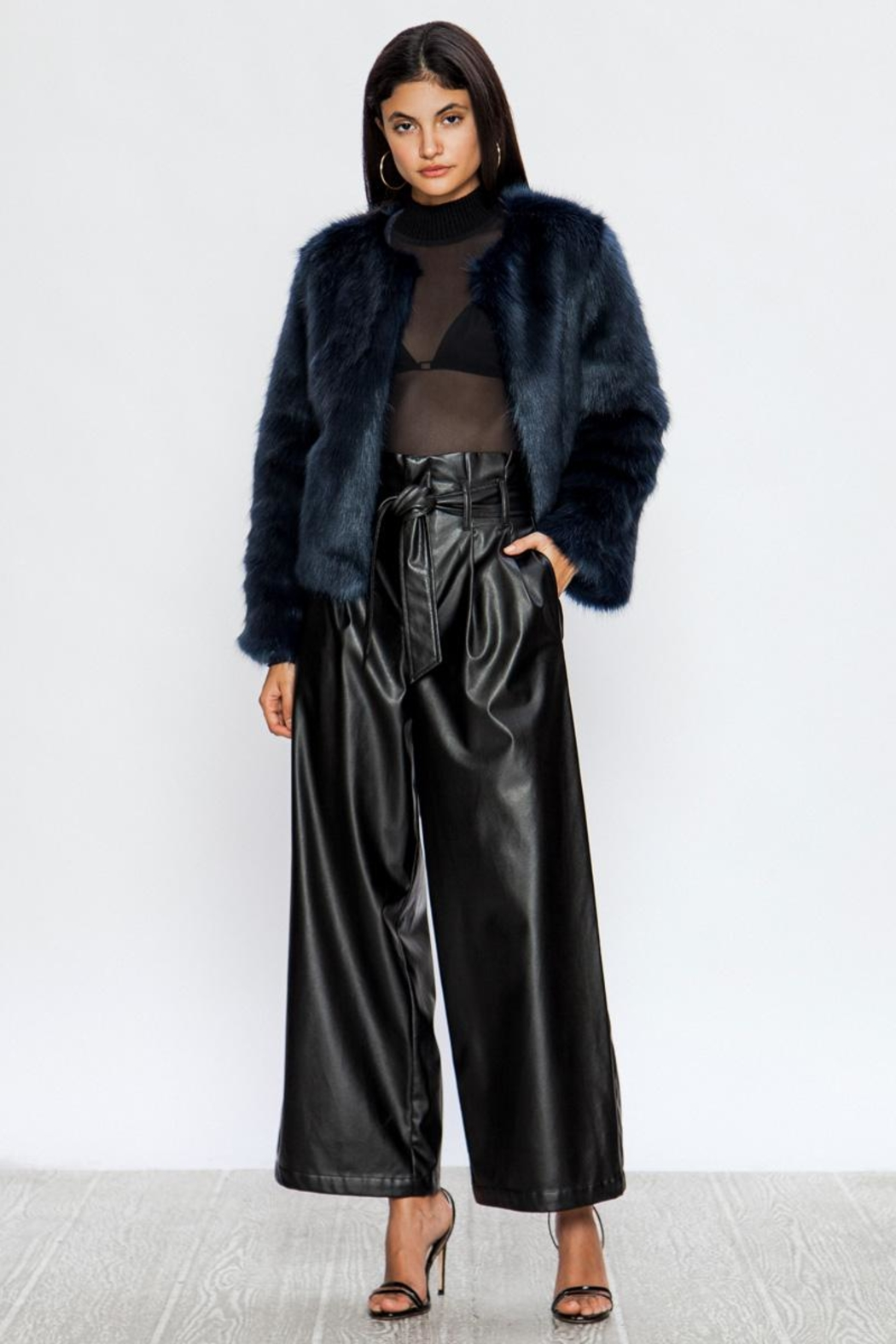 A. Calin Faux Wides Pants - Front Full Image