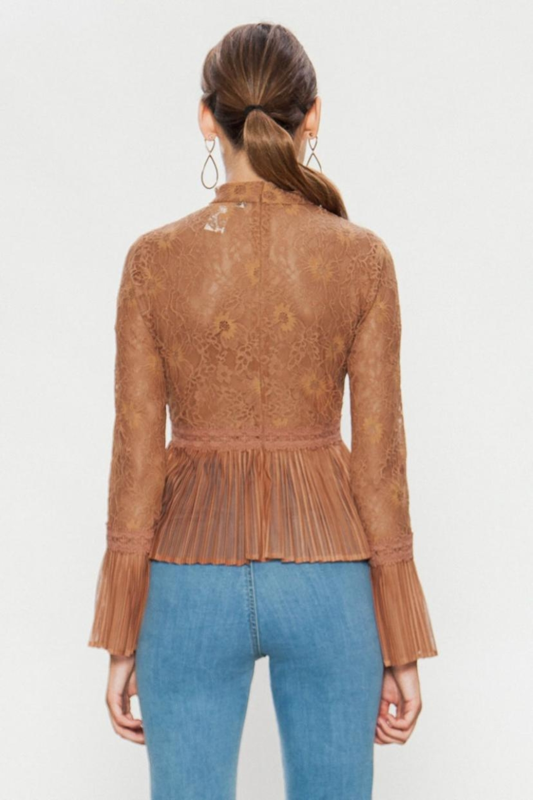 A. Calin High-Neck Lace Top - Back Cropped Image