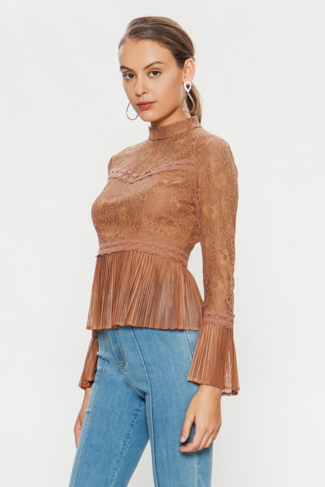 A. Calin High-Neck Lace Top - Side Cropped Image