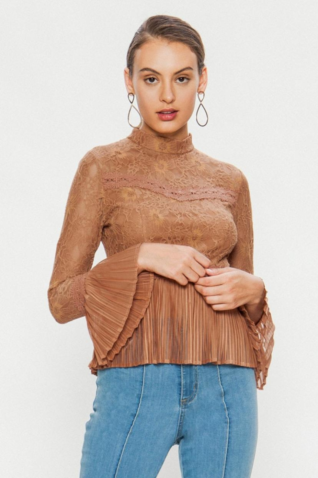 A. Calin High-Neck Lace Top - Main Image