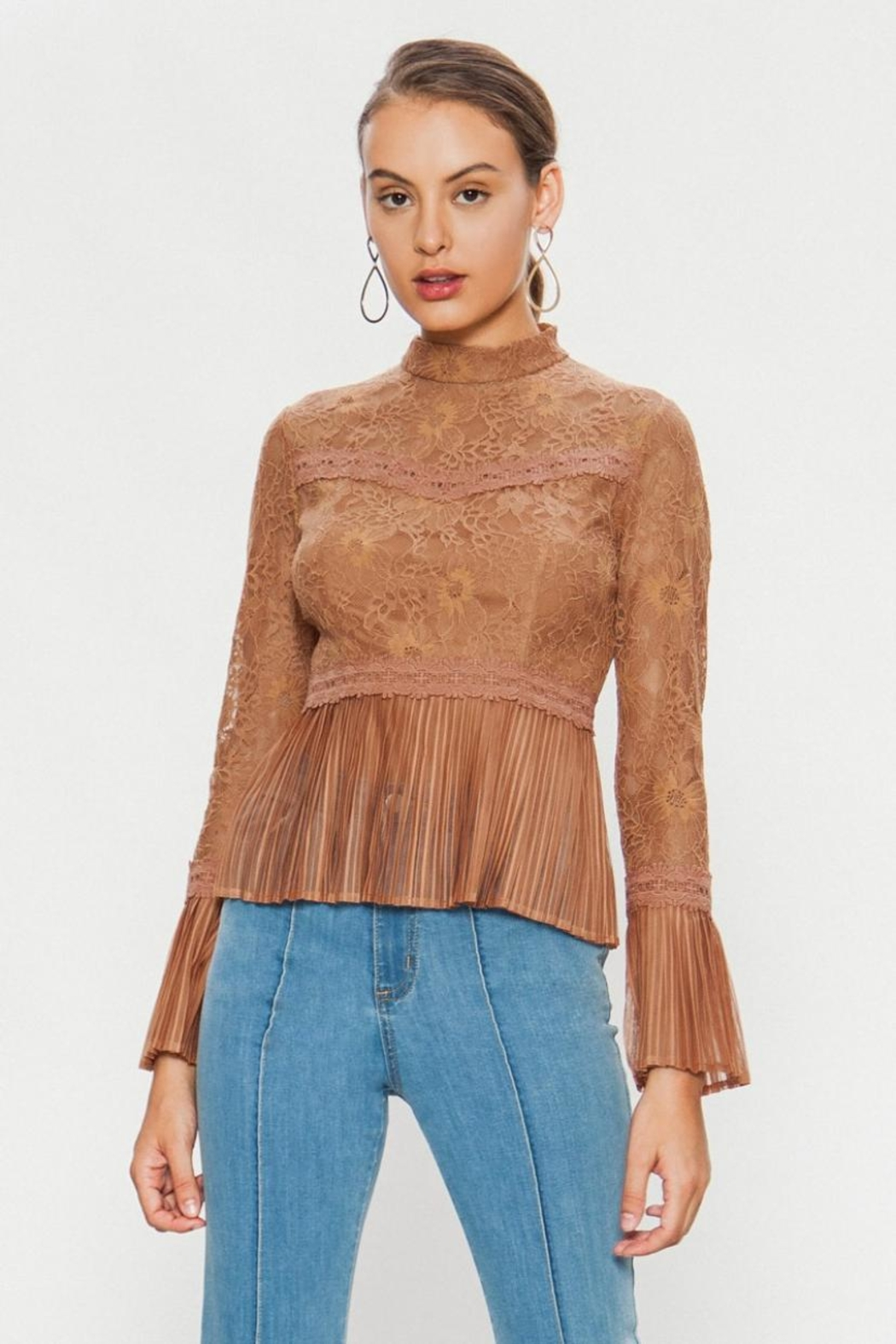 A. Calin High-Neck Lace Top - Front Full Image