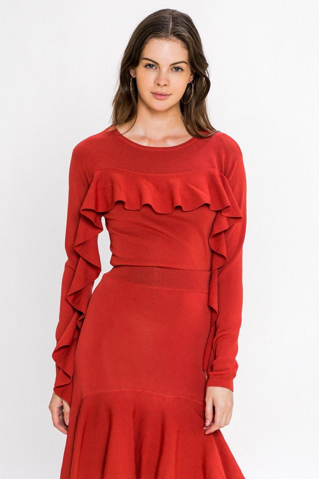 A. Calin Rust Ruffle Sweater Top - Main Image