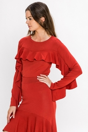 A. Calin Rust Ruffle Sweater Top - Back cropped