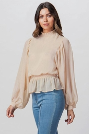 A. Calin Smocked High-Neck Top - Product Mini Image
