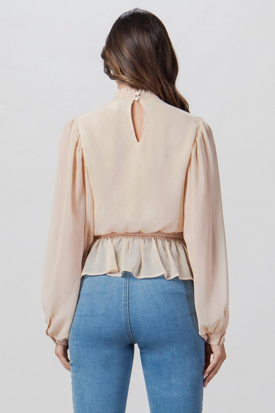 A. Calin Smocked High-Neck Top - Front Full Image
