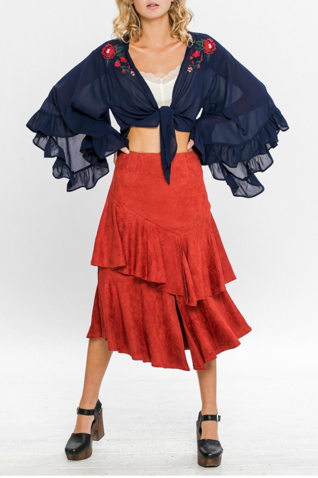 A. Calin Tiered Ruffle Skirt - Front Full Image
