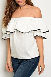 A. Calin White Shoulder Top - Product Mini Image