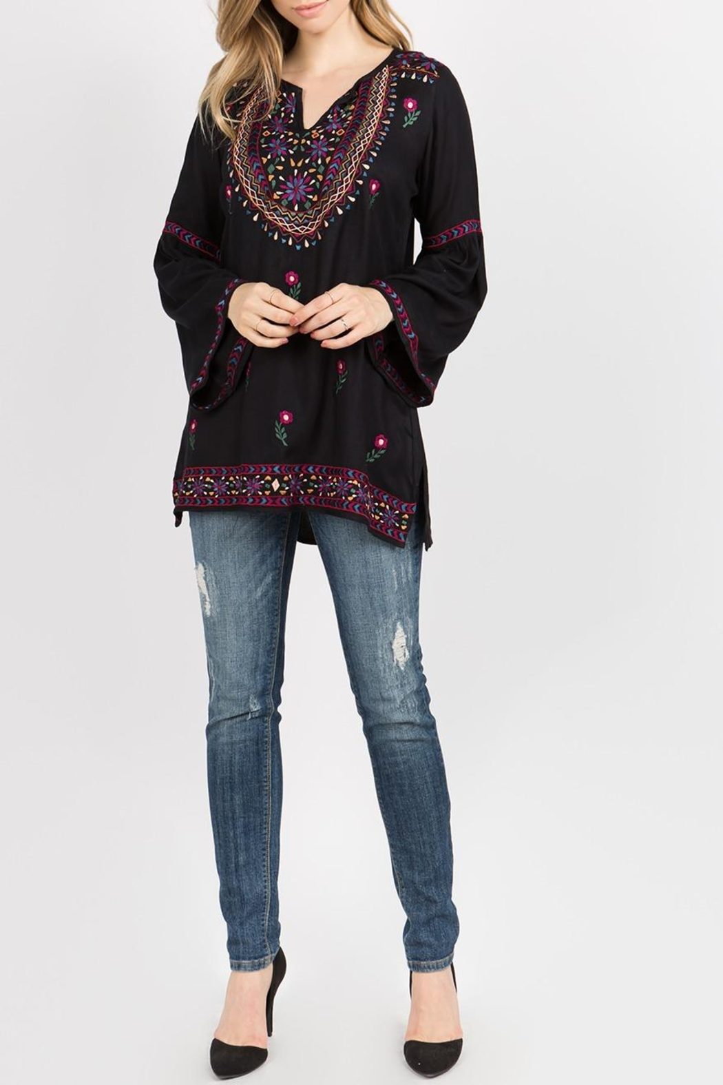 A&A Embroidered Bell Tunic - Back Cropped Image