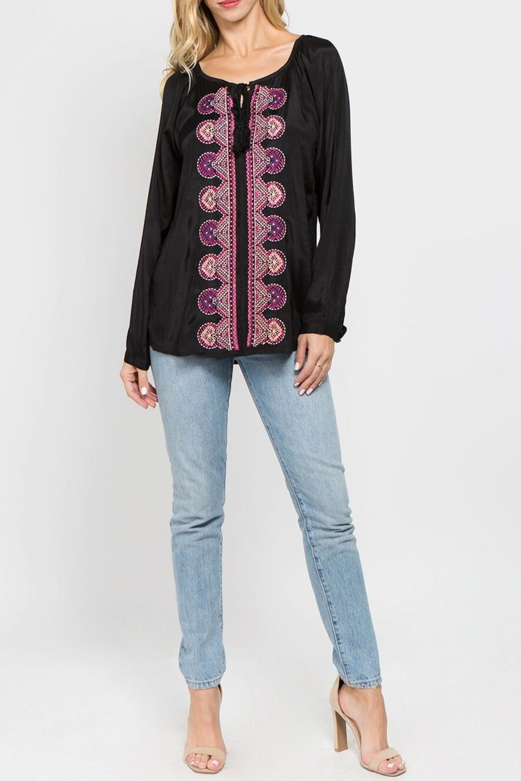 A&A Embroidered Peasant Blouse - Front Full Image