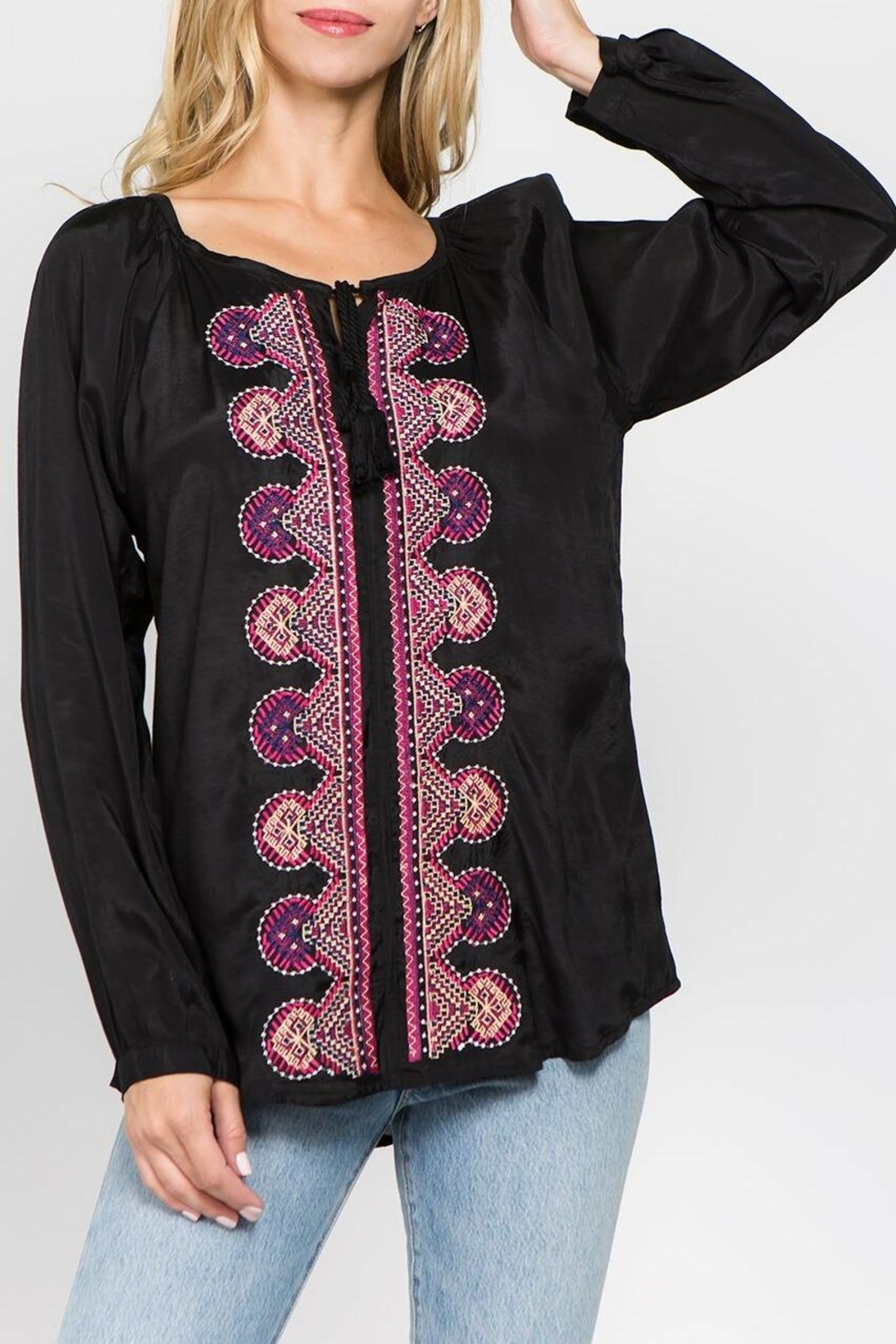 A&A Embroidered Peasant Blouse - Main Image