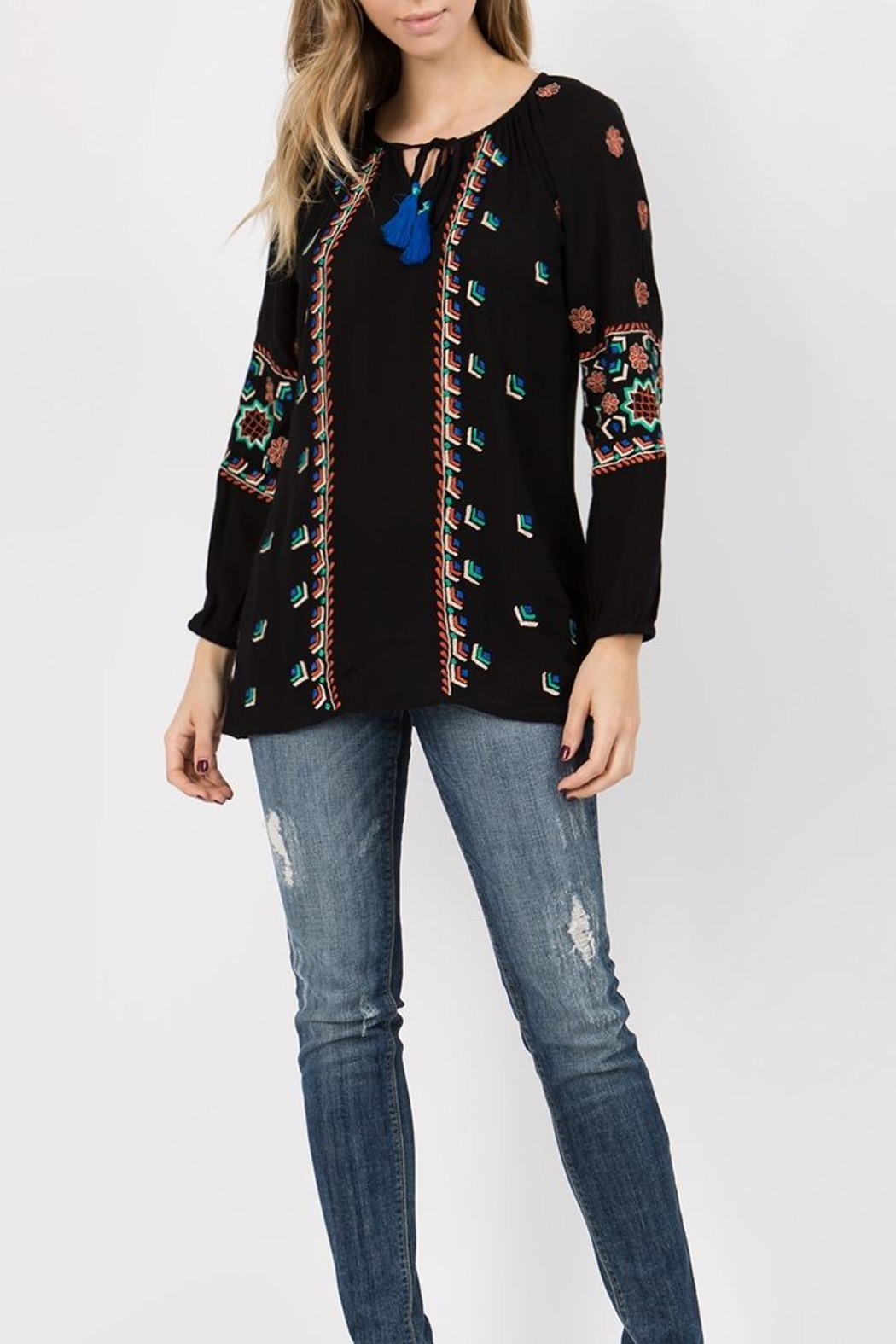 A&A Embroidered Peasant Tunic - Main Image