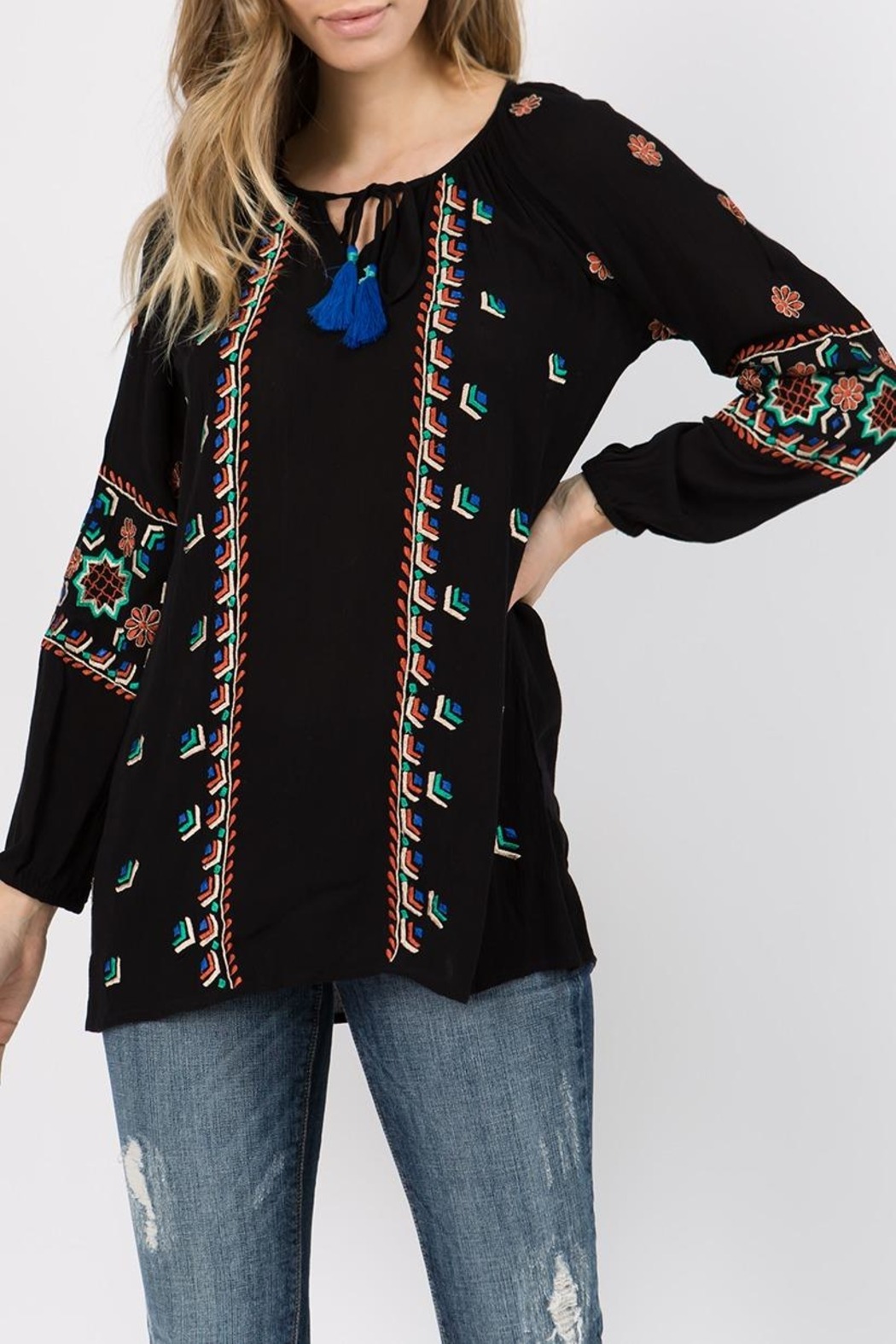 A&A Embroidered Peasant Tunic - Front Full Image
