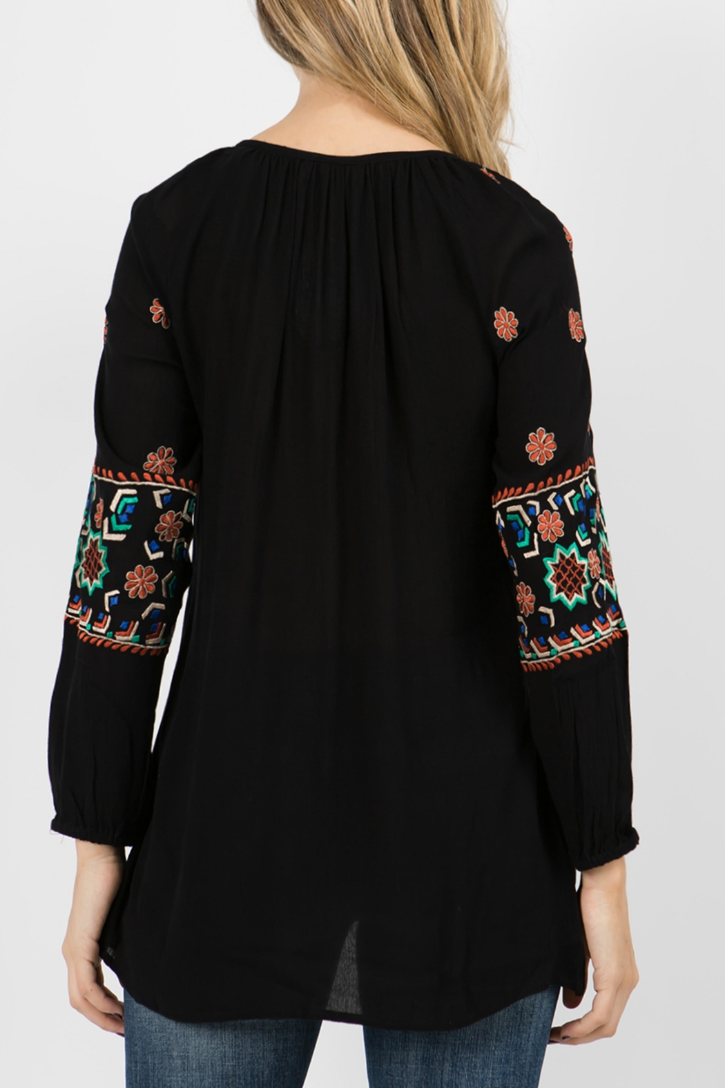 A&A Embroidered Peasant Tunic - Back Cropped Image