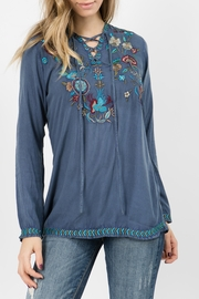 A&A Embroidered Tie Top - Product Mini Image