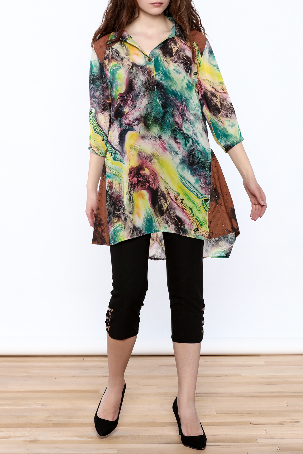 A&A Colorful Tunic Top - Front Full Image