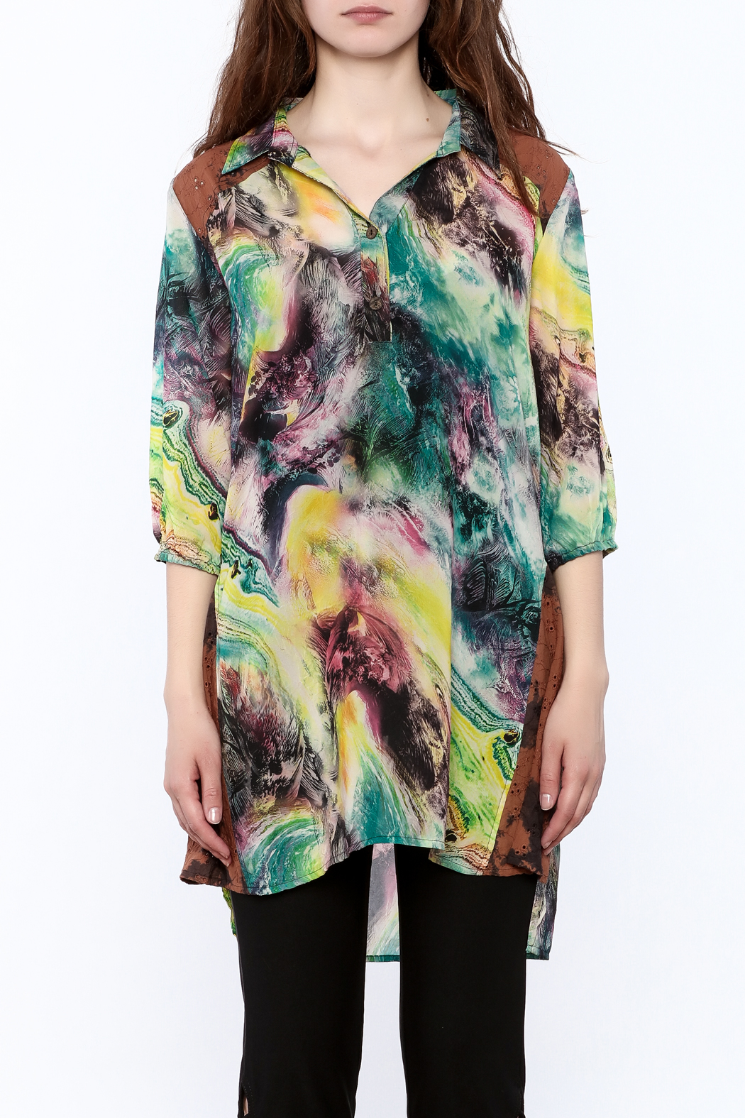 A&A Colorful Tunic Top - Side Cropped Image