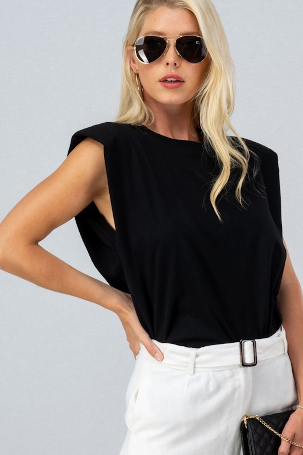 Trend Notes  A&A Shoulder Pad Tee - Front Full Image
