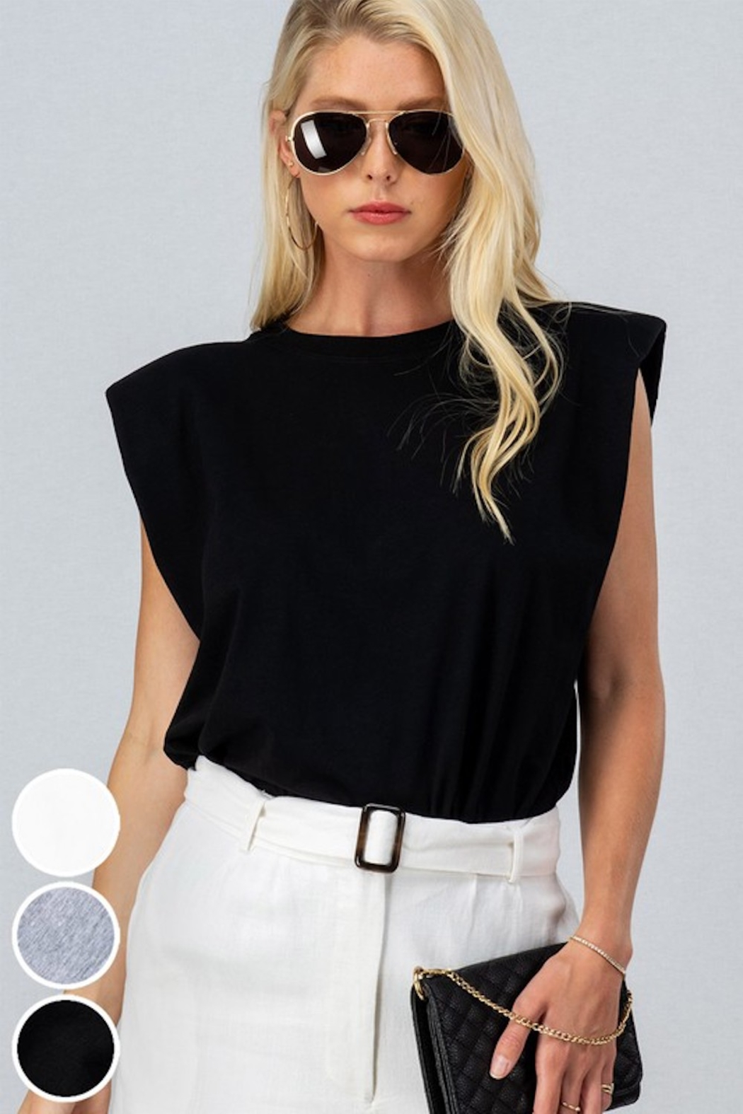 Trend Notes  A&A Shoulder Pad Tee - Main Image