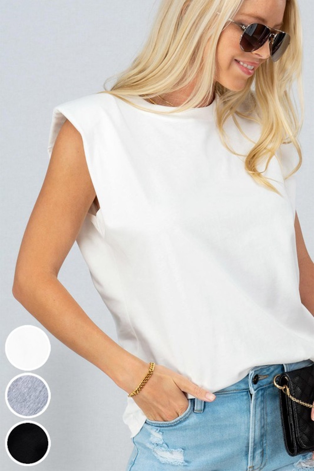 Trend Notes  A&A Shoulder Pad Tee - Front Cropped Image